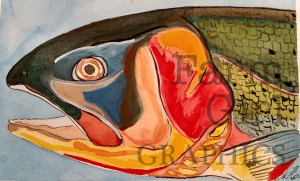 """""""Yellowstone Cutthroat"""" Watercolor2015 SOLD"""